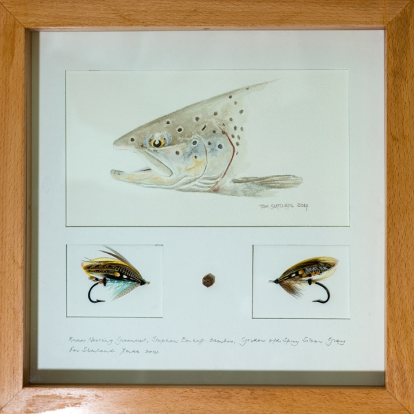 Framed salmon with salmon flies