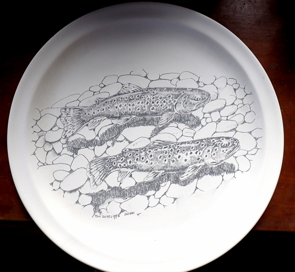 New ceramic. Two brown trout over pebbles - available to purchase